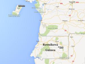 Mapa Rovníkové Guiney s vyznačeným současným i budoucím hlavním městem. Zdroj: autor s využitím Google Maps