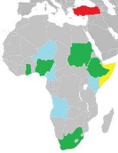 Země Subsaharské Afriky, ve kteých má Turecko největší zájmy. Nigérie, JAR, Ghana, Súdán a Etiopie jsou největšími obchodními partnery Turecka. Niger, Kamerun, Keňa a Angola v posledních letech podepsaly spolupráci v oblasti energetiky. Somálsko je největší příjemce rozvojové pomoci.