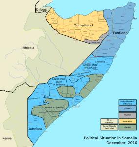 Politické rozložení Somálska. Zdroj: citymetric.com